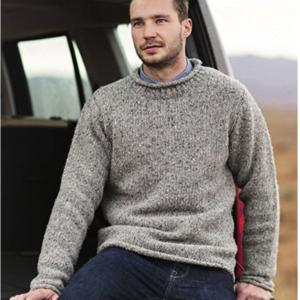 Herrenpullover aus 100% irischer Tweed-Wolle